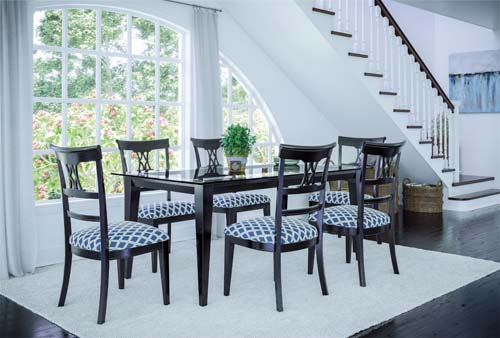 Canadel table chair barstool glass top custom dining Gourmet Champlain High Dining Upholstered bench dining set